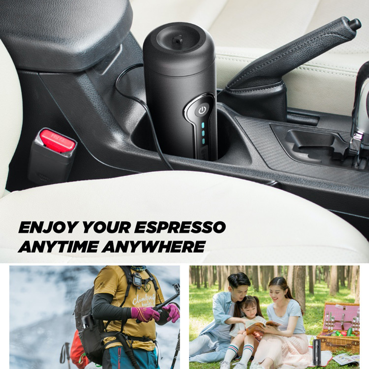 CP010ESE IMONS Fully Automatic Portable Espresso Machine CAN HEAT WATER Italian Coffee Maker For Ground Coffee, 12V Rechargeable, Cordless Use, Self Clean For Indoor and Outdoor Car Camping Hiking
