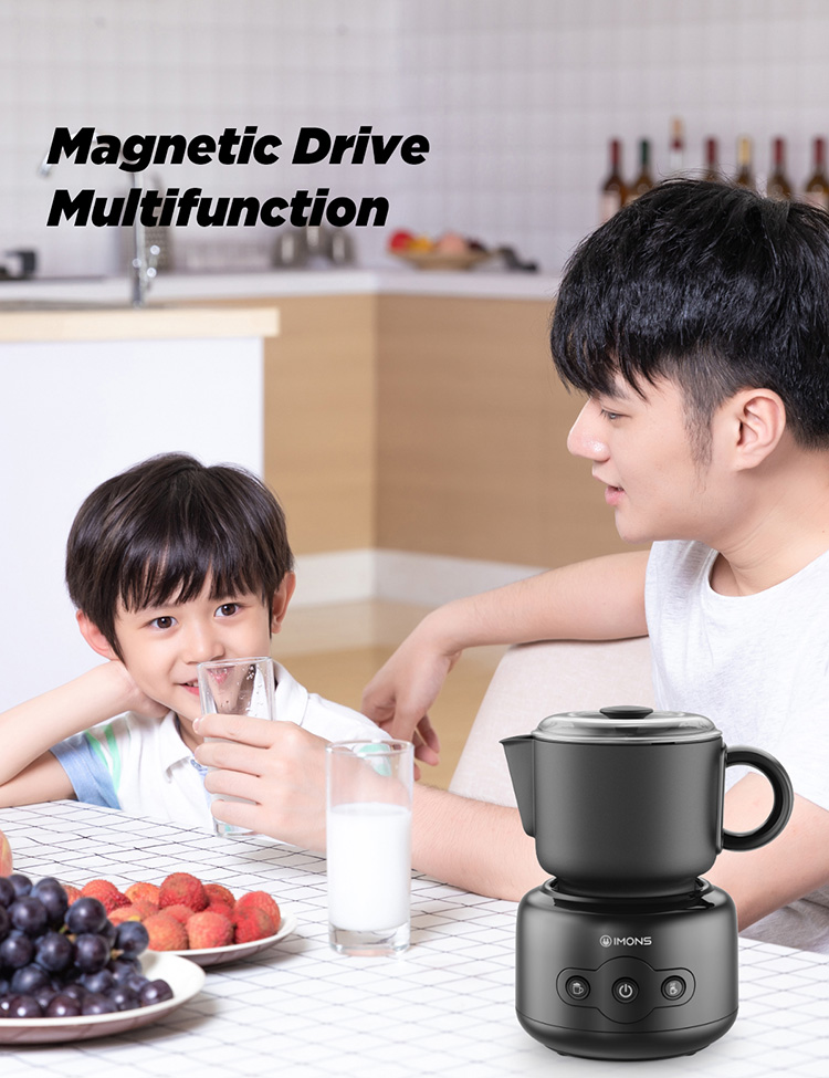 MF012 IMONS Professional Automatic Electric Milk Frother With Detachable Milk Cup Easy Clean Milk Cup Spout Magnetic Drive To Make Hot and Cold Cappuccino Hot Latte Milk and Chocolate with Powder