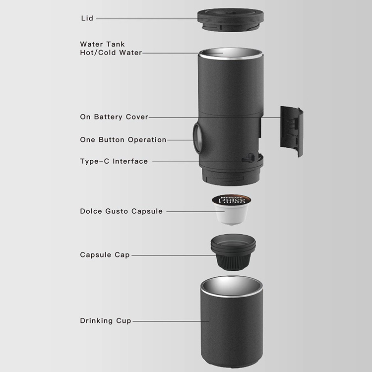 CP003 IMONS Automatic Mini Portable coffee maker machine CAN HEAT WATER for dolce gusto capsule, double walls Type c power, one button operation, car drive mode, double wall stainless cup