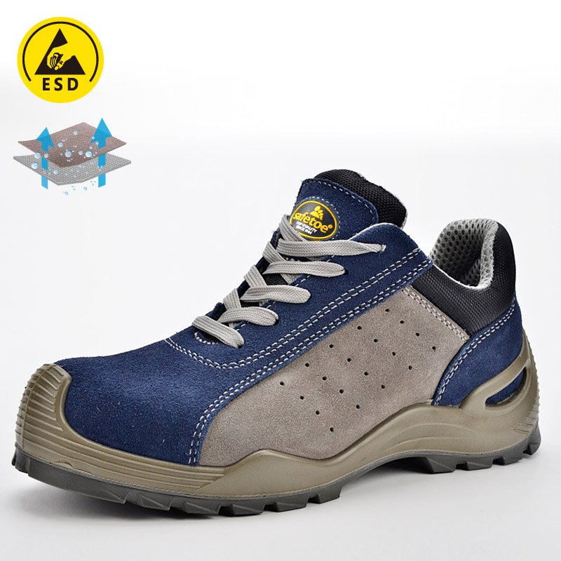 Safety Shoes for Summer Blue and Grey L-7295 Blue