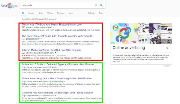 Google 搜索引擎结果页面示例图