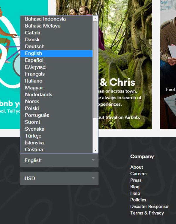 Airbnb在其全球网站上使用此设计