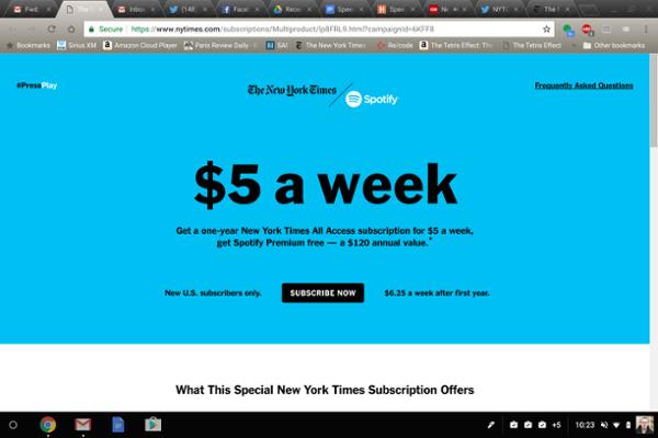 """""""纽约时报""""每周提供5美元免费Spotify订阅"""