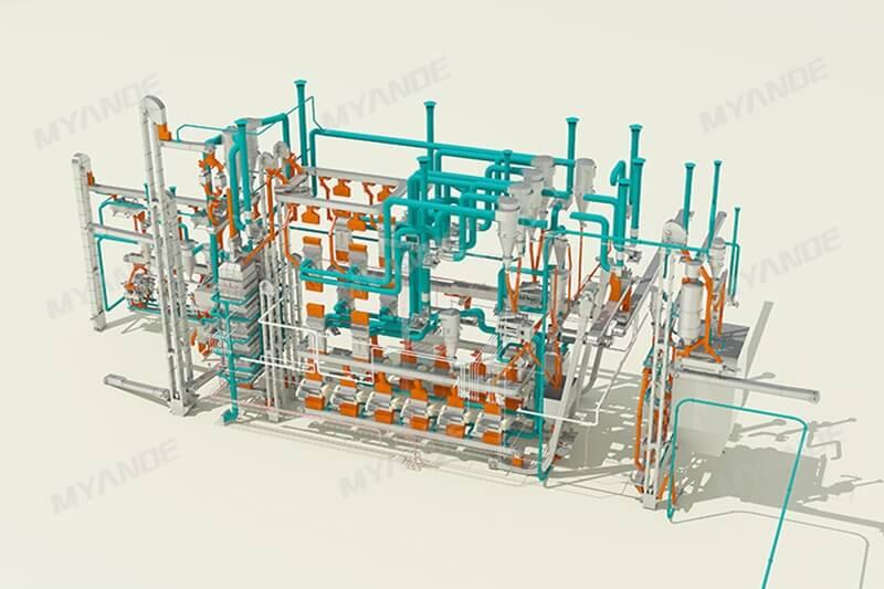 Proceso de preparación de soja Diseño 3D