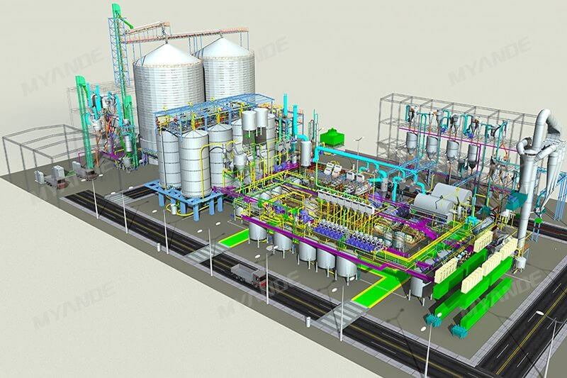 Corn Starch Production Line 3D Design