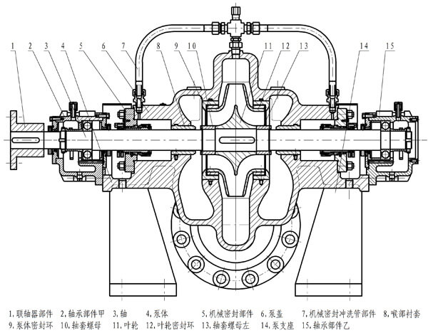 Pipeline pump structure diagram(Sliding bearing oil feed pump)