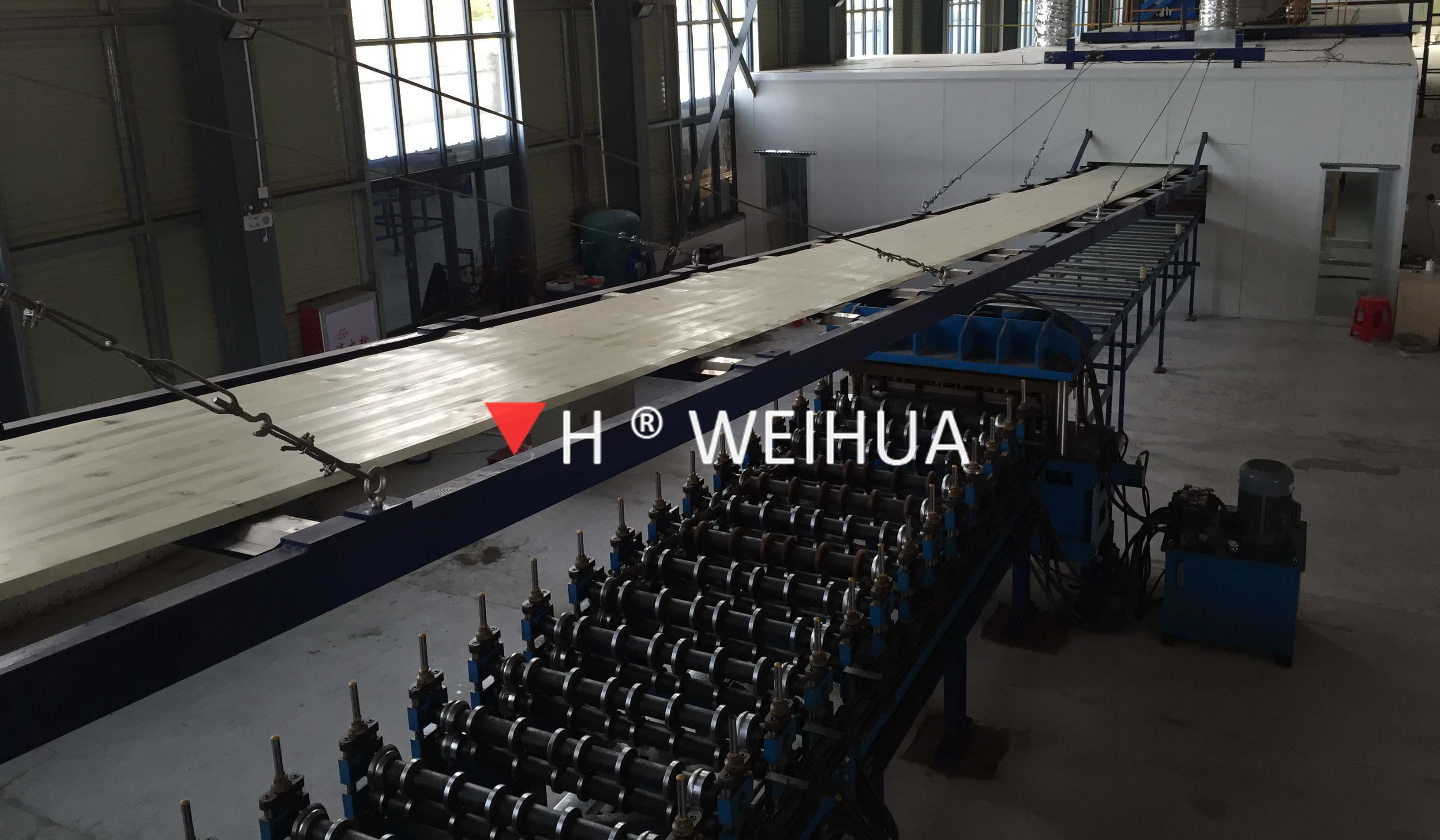 PU and rock wool sandwich panel production line