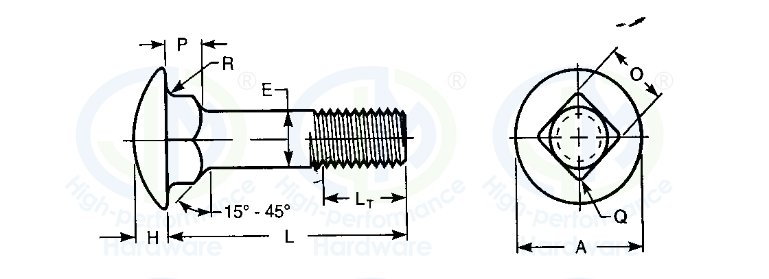 carriage bolt ANSI/ASME standard DIN standard
