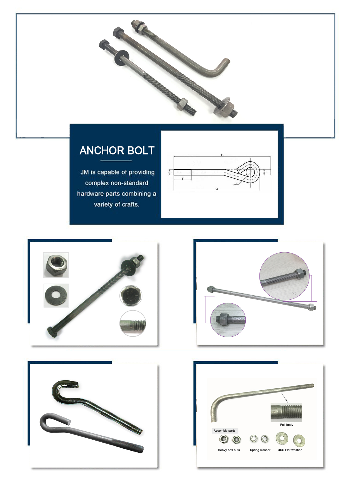 ASTM A307B headed anchor bolt, A449, F1554 anchor bolt