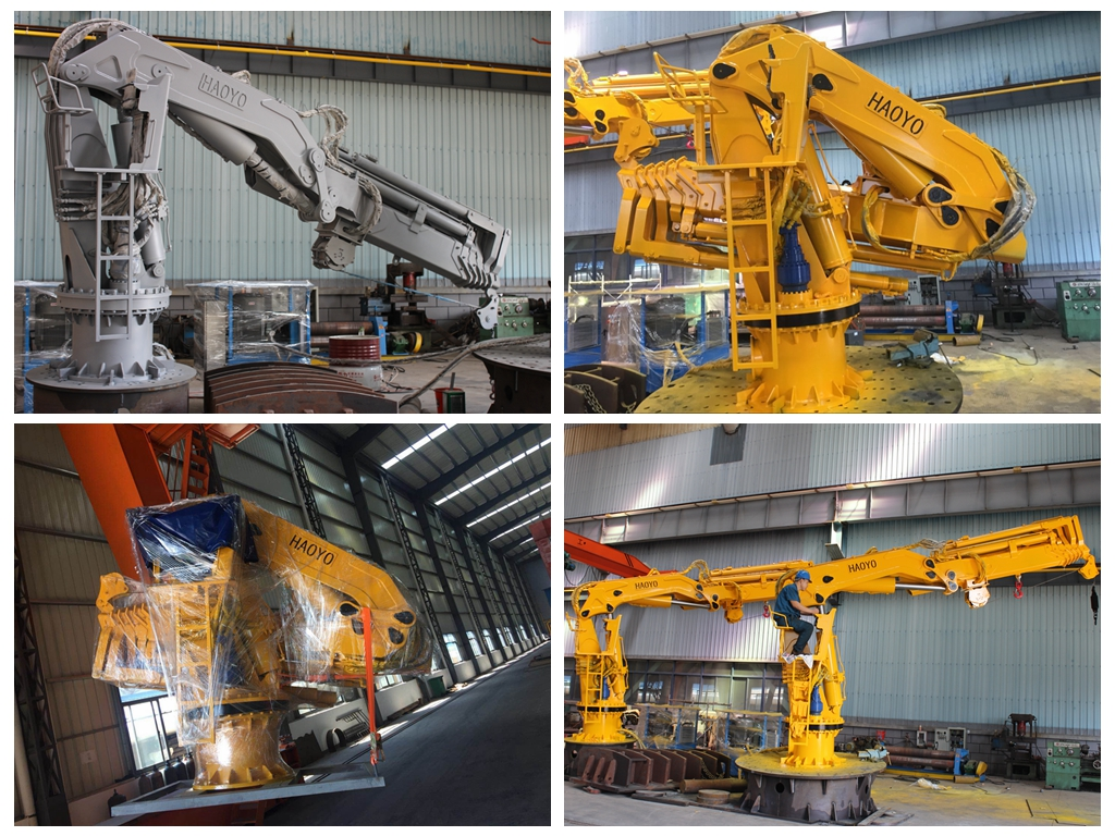 1t@18m Hydraulic Folding Telescopic Boom Offshore Marine Crane Finished