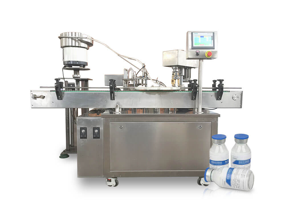 Penicillin bottle filling corking and seaming machine