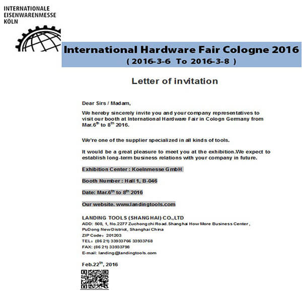 Letter of Invitation - International Hardware Fair in Cologne Germany 2016