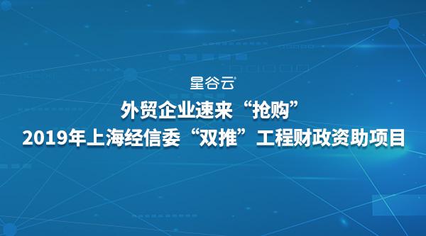 """上海外贸企业速来""""抢购""""2019年上海市经信委""""双推""""工程财政资助项目!"""