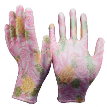 13 Gauge Flower Print Knitted Polyester Liner PU Palm Coated Garden Gloves PU1350FP