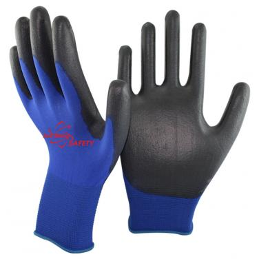 18 Gauge Knitted Navy Nylon Liner PU Palm Coated Gloves PU1850-NV/BLK