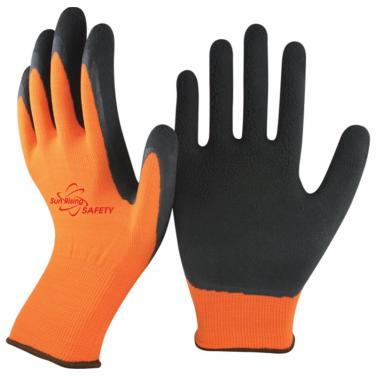 13 Gauge Orange Nylon Knitted Liner Foam Latex Palm Coated Work Gloves NM1350F-OR/BLK