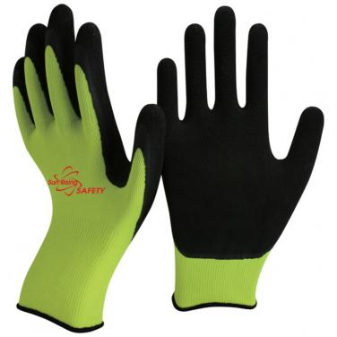 13 Gauge Hi-viz Yellow Nylon Knitted Liner Foam Latex Palm Coated Work Gloves NM1350F-HY/BLK