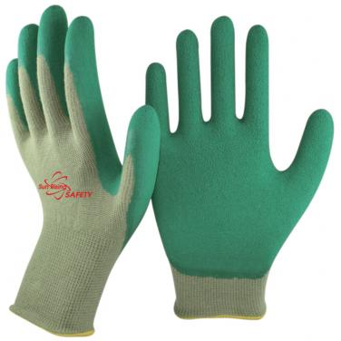 13 Gauge Bamboo Fibre Knitted Liner Foam Latex Palm Coated Work Gloves BB1350F-GN