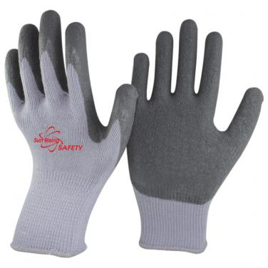 10 Gauge Grey Polycotton Knitted Liner Crinkle Latex Palm Coated Work Gloves NM10902-GR