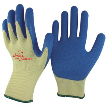 10 Gauge Polycotton Knitted Liner Crinkle Latex Palm Coated Work Gloves NM10902
