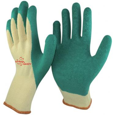 10 Gauge Polycotton Knitted Liner Crinkle Latex Palm and Thumb Coated Work Gloves NM10902T-Y/GN