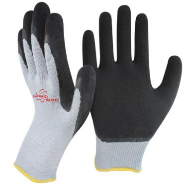 10 Gauge Polycotton Knitted Liner Foam Latex Palm Coated Work Gloves NM10920F-GR/BLK