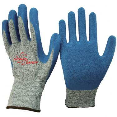 13 Gauge Anti-cut Knitted Liner Palm Coated Crinkle Latex High Cut Resistant Gloves DY1350NM