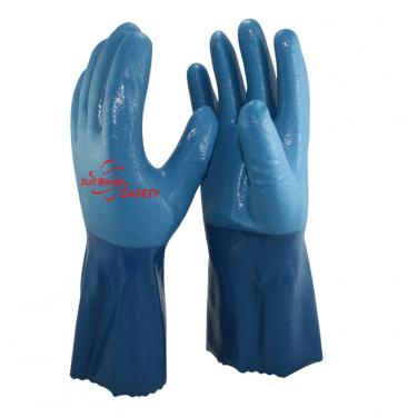 Cotton Interlock Liner Heavy Duty Sandy Nitrile Palm Coated Gauntlet Gloves NBR7560S-B