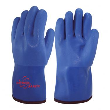 Terry Cloth liner Full Coated With PVC Palm Gauntlet Gloves PVC1380BR-T