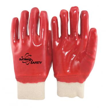 Cotton Interlock liner Full Coated With PVC Palm Gloves PVC1560
