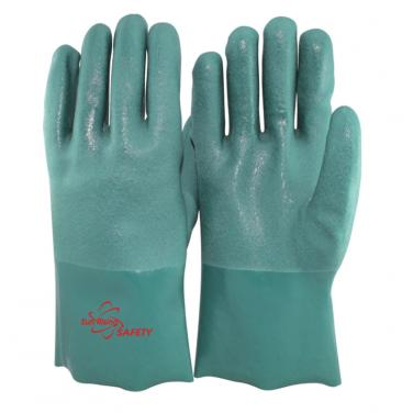 Cotton Interlock and Jersey liner Full Coated With PVC Palm Gauntlet Gloves PVC7560-GN