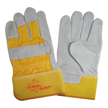 Yellow Natural Cow Split Leather Work Gloves CS603-Y/G