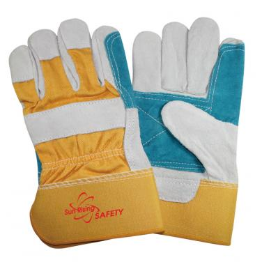 Natural Cow Split Leather Reinforced Palm Work Gloves CS603DP