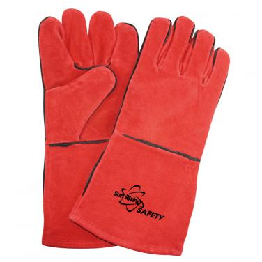 Red Cow Split Leather Welding Gloves CSW001-R