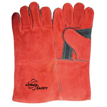 Red Cow Split Leather Reinforced Palm Welding Gloves CSW002-R