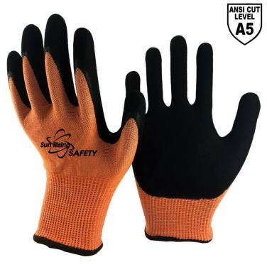 13 Gauge Knitted  Liner Palm Coated Sandy Nitrile  ANSI Cut 5 Gloves DY1350-OR/BLK