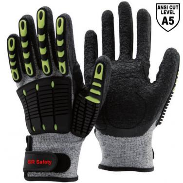 Cut A5 Resistant Knitted Liner Crinkle Latex  Palm Coated  Impact Resistant Gloves DM1350AC-GR/BLK
