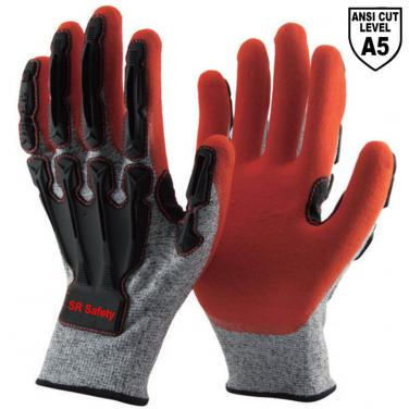 13 Gauge Grey Cut A5 Liner Sandy Nitrile Palm Coated  Anti Impact Gloves DY1350AC-OR03