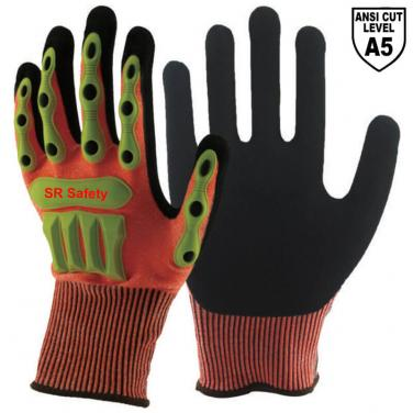Orange Cut A5 Resistant Liner Sandy Nitrile Palm Coated  Impact Resistant Gloves DY1350AC-OR02