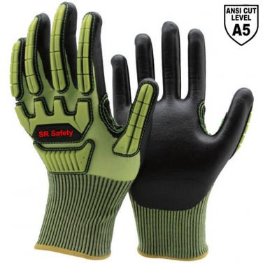 Cut A5 Resistant Knitted Liner Foam Nitrile Palm Coated  Impact Resistant Gloves DY1350AC-HY01