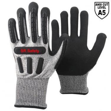 Black Anti-cut A5 Liner Sandy Nitrile Palm Coated  Impact Resistant Gloves DY1350AC-BLK