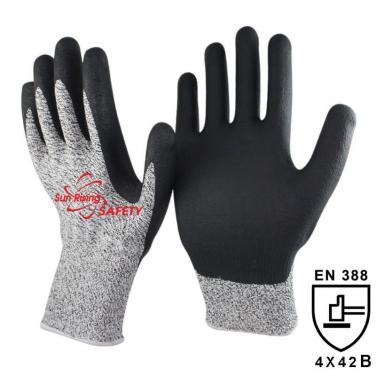 13 Gauge Cut Resistant liner Micro Foam Nitrile Coated Glove DY1350FRB-BLK