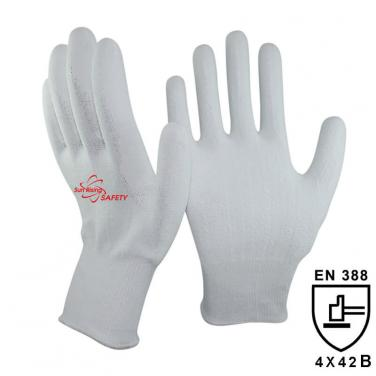 13 Gauge White Kintted Liner Palm Coated PU Cut Resistant Glove DY110PU