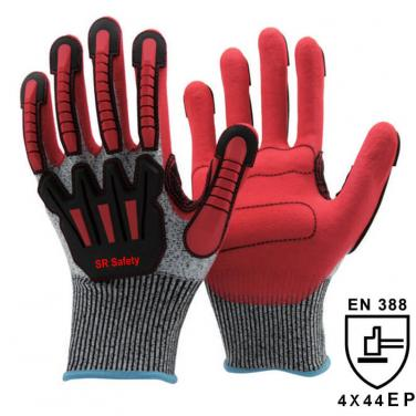 13 Gauge Anti Cut Liner Sandy Nitrile Palm Coated  Anti Vabration Glove DY1350AC-R