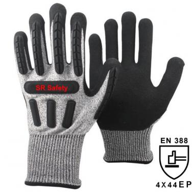 Black Anti-cut 5 Liner Sandy Nitrile Palm Coated  Impact Resistant Glove DY1350AC-BLK