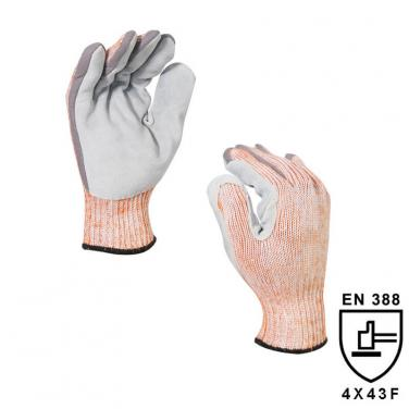 7 Gauge Knitted Liner with Cow Split Leather on Palm Highest Cut Resistant Glove DY007CS