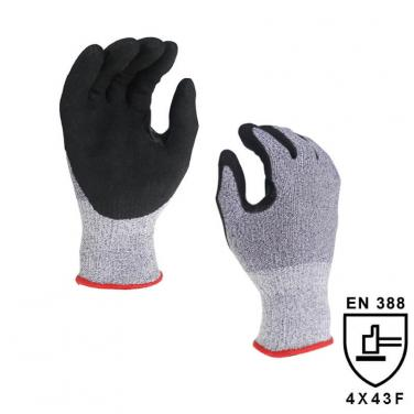 13 Gauge High Cut Resistant Level F Knitted  Liner Palm Coated Sandy Nitrile Glove DY1350A7