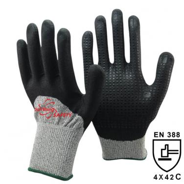 13 Gauge Anti-cut liner Half Nitrile Palm With Mimi Dots Coated Gloves DY1355FD