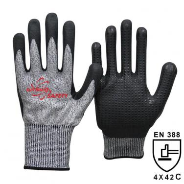 13 Gauge Anti-cut liner Nitrile Palm With Mimi Dots Coated Gloves DY1350FD