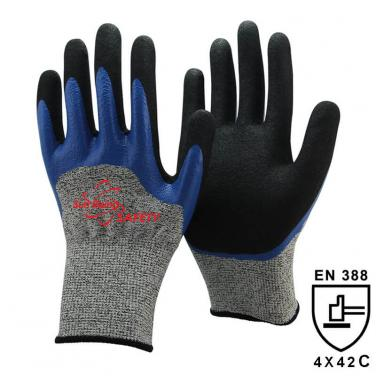 13 Gauge Cut Rsistant liner Nitrile Double Coated Gloves DY1355DC-B/BLK